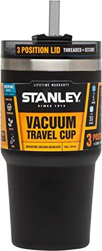 Stanley Adventure Thermo-Trinkbecher \'Quencher\', 0.59 L, mattschwarz, 18/8 Edelstahl, vakuumisoliert, Universaldeckel, Thermobecher Isolierbecher Kaffeebecher