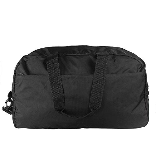 Teamoy Duffle Tasche, Sporttasche für PE Kits, Schwimmen Gear, Sport-Stuff, Reise Essentials und vieles mehr - leicht, faltbar in sich selbst, große Kapazitäten & Wasser beständig, perfekt über Nacht  Schwarz