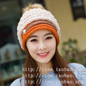 Winter Hat Knit Russian Cute Trapper Warm Cool Girl Women Orange White