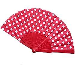 Abanicos Fans Plegables De Mano Para Mujer Fiesta De Boda Con Estampado De Lunares Flamenco Abanicos Abanicos Portátiles De Verano Regalos