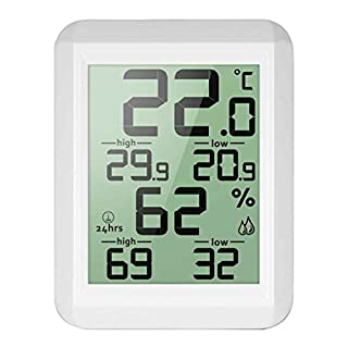Kongnijiwa Digital LCD Thermometer Hygrometer Temperature Humidity Meter MIN/MAX Records Indoor Outdoor Weather Station