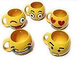 Weird Wolf Complete Emoji Series Ceramic 350ml Coffee Mug(Yellow) - Set of 5