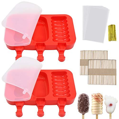 Homgaty Eisformen, 6 Stück Silikon EIS am Stiel Formen, BPA Frei, Stieleisformen mit Deckel, Eisstiele, Verpackungsbeutel, Popsicle Formen für DIY Selbstgemachtes EIS