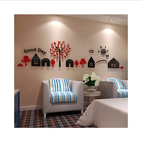 xsongue Small House Acrylic Crystal 3D Wall Stickers for Kids Room Living Room Sofa Background Wall Decoration Cartoon Art Wall Sticker -