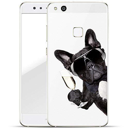 Finoo Huawei P10 Lite Handy-Tasche Schutzhülle | ultra leichte transparente Handyhülle aus flexiblen Silikon | stylisches TPU Cover Case mit Motiv | Hund mit Sekt von der Seite