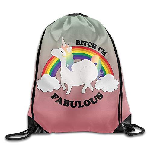 dfhdshsd Dabbing Solar Eclipse Unicorn Unisex Drawstring Backpack Travel Sports Bag Drawstring Beam Port Backpack.