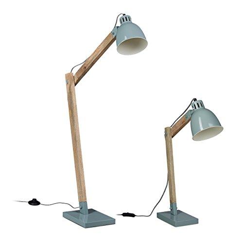 2 tlg. Lampen-Set, Stehlampe und Schreibtischlampe, Leselampe skandinavisch, Mangoholz und Metall, skandinavisch, grau