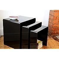 Wrights Plastics GPX Premium Black Acrylic Nest Of Tables (Set Of 3)