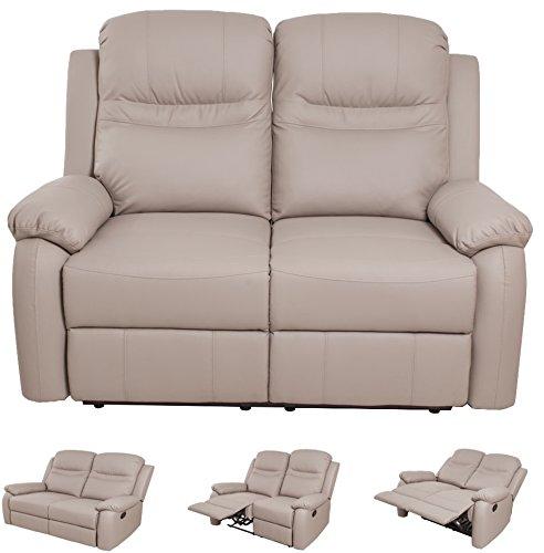 Compralo.eu - divano ecopelle reclinabile recliner 2 posti sofà casa alfiere light gray tortora grigio chiaro