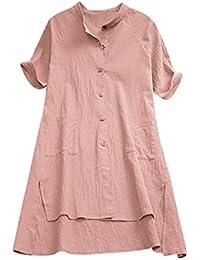 Longra Camicia da Donna in Lino con Bottoni Doppia Tasca Camicie Lunghe  Donna Maniche Lunghe Abito da Camicia Casual Vestito A… 1fb2e4d7211