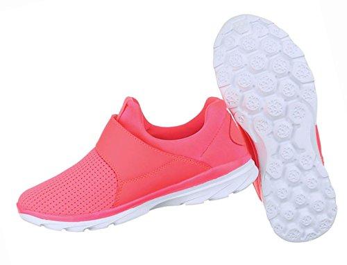 Damen Schuhe Freizeitschuhe Sportschuhe Mit Klett Schwarz Pink
