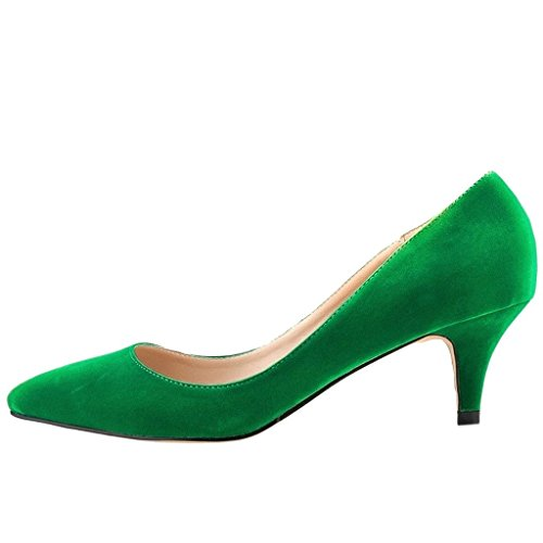 MERUMOTE Donna Tacco basso Verde - Verde-Camoscio