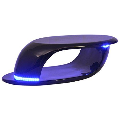 Festnight Table Basse avec LED Brillant Table Basse de Salon Noir de Style Contemporain 99 x 46 x 29,5 cm