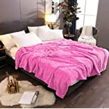 AVI Double Layer Layer Polar Fleece Reversible Blanket-Single-60 x90 - Pink