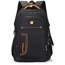 Ruanlei @ mochilas hombre casual impermeable/laptop backpack/Mochila de Negocio/Mochila Portátil Impermeable Negocios multifunción USB de alta capacidad de doble bolsa de hombro amarillo de14pulgadas