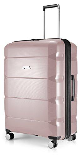 HAUPTSTADTKOFFER - Britz - Hartschalen-Koffer Koffer Trolley Rollkoffer Reisekoffer Erweiterbar, 4 Rollen, TSA, 75 cm, 115 Liter, Altrosa