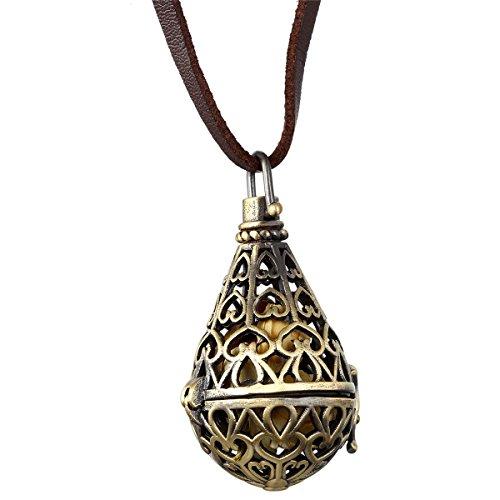 JewelryWe Schmuck Retro öffenbare Regen Tropfen Drop Legierung Anhänger mit Lange Leder Kette, Halskette für Herren und Damen, Bronze Braun