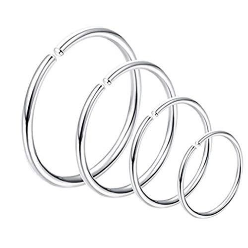 Jixing 4 Stück Nasenringe Hoop Nasenstecker Piercing Körperschmuck klein und extra dünn 6-12mm Durchmesser, Stahlfarbe