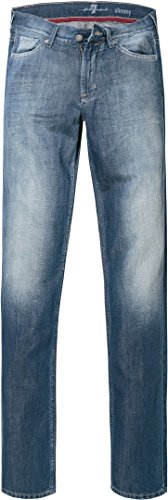 7 For All Mankind Jeans Slimmy Linen Mid blue denim W38 -