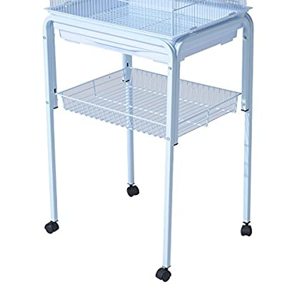 PawHut Large Metal Bird Cage w/ Breeding Stand Feeding Tray Wheels for Parrot Parakeet Macaw Pet Supply Light Blue 47.5L… 7