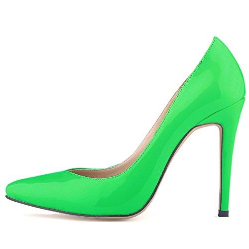 HooH Femmes Simple Bonbons Couleur Glissement Stiletto Escarpins Vert