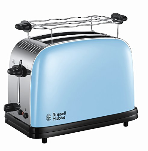 Russell Hobbs 23335-56 Toaster Colours Plus+ Heavenly Blue, Schnell-Toast-Technologie, Brötchenaufsatz, 1670 Watt, blau