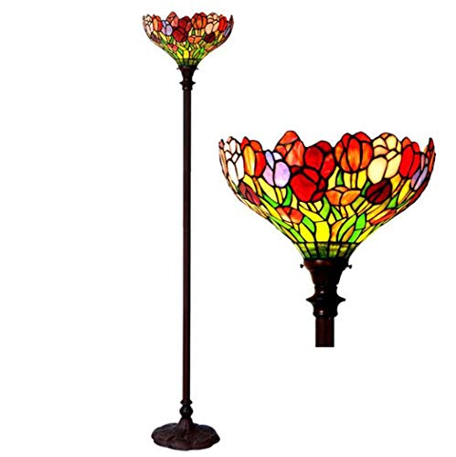 Yd&hTiffany Style Stehleuchte, 15-Zoll-Tulip Design Handcrafted Stained Glass Torchiere Floor Lights mit Metallsockel, Retro-Luxus-Stehbeleuchtung für Wohnzimmer-Schlafzimmer-Studie