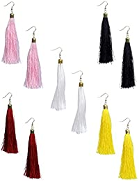 Nawab Boho Gypsy Tassel Earring For Girls And Women (pack Of 5 Pair)- Black,Maroon,White,Yellow And Pink