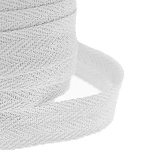 JJOnlinestore Baumwolle, 25 mm, 2.54 cm Herringbone Twill, Schneidern Nähen Handwerk Schürze, Wimpelkette, weiß, 10 Meter (Herringbone-band)
