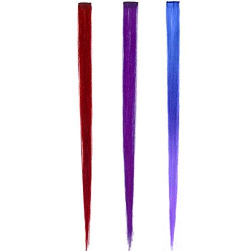 Frcolor 3 pcs Femme coloré Clip en Extensions de cheveux Faux Cheveux pièces Mode Bicolore dégradé (Rouge Bleu et Violet)