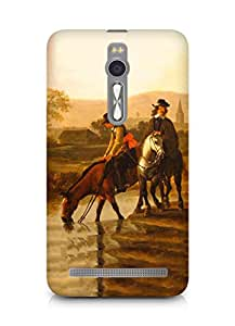 Amez designer printed 3d premium high quality back case cover for Asus Zenfone 2 (Oil painting nature men old times art)