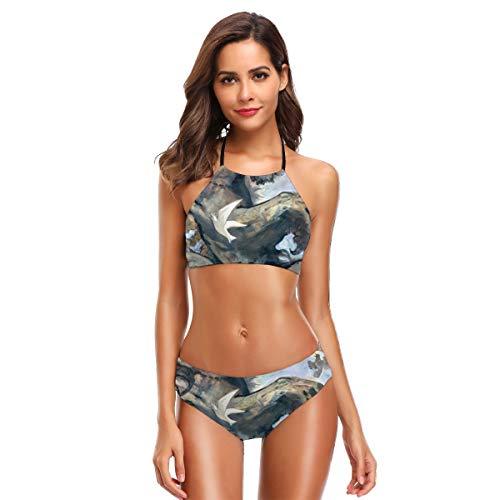 Metallic Schiere Bh (Löwe & Vögel Frauen 2 Stück Bandeau Bikini Badeanzüge Schulterfrei Hohe Taille Badeanzug M)