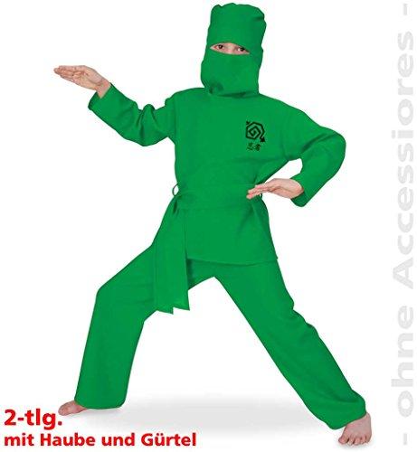 Kinderkostüm Green Ninja, Grüner-Ninja, Assasine, Kämpfer, Asien, Kinderninja (128)