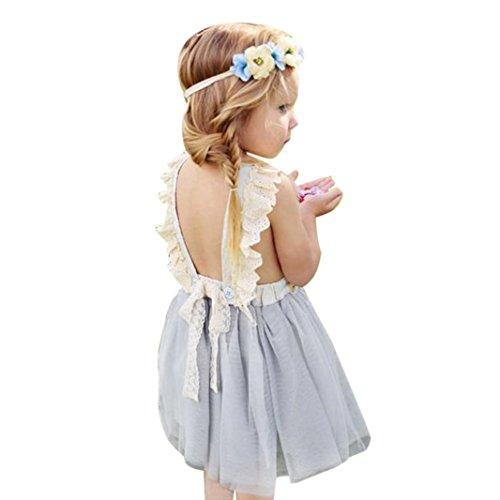 Amlaiworld Robe de Filles Robe de Princesse de Filles de Fleur Robe de Dos Enfants Robes sans Manches Vêtements pour 1-6Ans Fille (130/4-5ans, Gris)