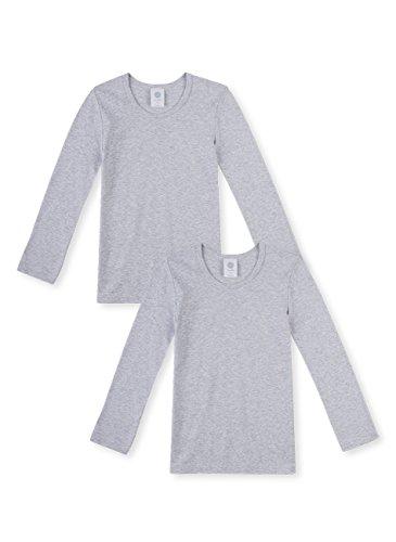 Sanetta Jungen T-Shirt Langarm im Doppelpack aus Bio-Baumwolle - Made in Europe - hellgrau Melange (1646), 128 -