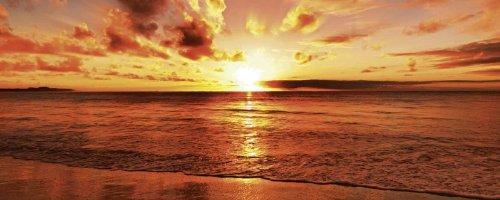 Artland Echt-Glas-Wandbild Deco Glass idizimage Schöner tropischer Sonnenuntergang am Strand Landschaften Gewässer Meer Fotografie Orange A6XL