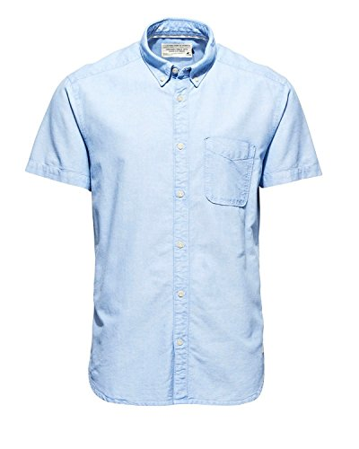 JACK & JONES -  Camicia Casual  - Maniche corte  - Uomo chambray blue/print back Large