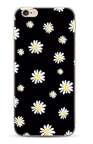 iPhone 5C Coque souple avec impression fantaisie pour iPhone 5C - Fleurs Blanches sur fond noir
