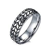Lekima Stainlless Steel Ring Tire Tread Pattern Groove Polished Plating Bicker Charm Finger Ring For Men #O - Silver (Gift Bag Included)
