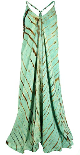 Guru-Shop Batik Maxikleid, Strandkleid, Sommerkleid, Langes Kleid, Damen, Grün, Synthetisch, Size:40, Lange & Midi Kleider Alternative Bekleidung