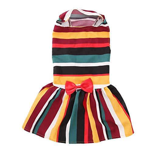 Kostüm Muster Rock Pudel - Naroote Haustier-Kleid, Hundesommer-Kleiderbunter gestreifter Regenbogen-Nette Fliegen-Welpen-Rock-Haustier-Kleidung(M)