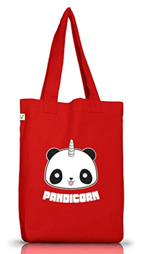 Panda Unicorno Jutebeutel Stoffbeutel Terra Positivo Mit Pandicorn Motiv Rosso