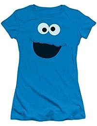 Sesame Street TV Show Cookie Monster Face Outline Juniors Sheer T-Shirt Tee
