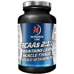BCAA 2:1:1 - 2400 mg - tabletas de aminoácidos ramificados - leucina, isoleucina y valina con vitamina B6 - aminoácidos essenciales para desarrollo muscular- 120 comprimidos vegetarianos(no capsulas)
