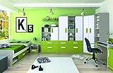 Kinderzimmer Komplett - Set J Renton, 9-teilig, Farbe: Platingrau/Weiß/Grün