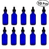Lurrose 10 piezas Botellas vacías para aceites esenciales Reactivo Pipetas líquidas Botella de aromaterapia Botellas reutilizables con Mezcladoras cuentagotas y Accesorios de herramientas de bricolaje, 20 ml (Azul)