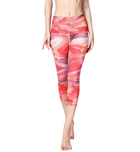 ECHERY Damen Sommer Printed Capri Cropped Leggings Flexible Fitness Sport Yoga-Tights Pants Bunt Rot S (Cropped Tights)