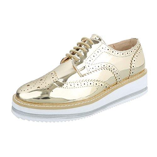 Ital-Design Schnürer Damenschuhe Oxford Schnürer Schnürsenkel Halbschuhe Gold 56255