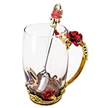 HUISHENG Enamels Butterfly Flower Tea Cup, Glass Coffee Mugs with Spoon, Mother's Day Christmas Gifts for Women Wife Mum Her Grandma Girls Teacher Friends, Personalised Birthday Present (Red)