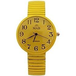 Unisex Yellow Coloured Expandable MAB Designer Fashion Metal Watch Round Bracelet Extra Battery